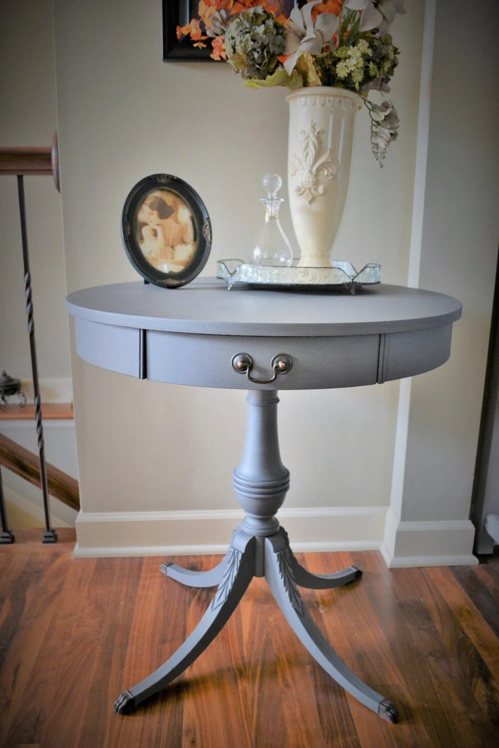 Vintage Mersman Drum Table Chalk Painted Round Table with
