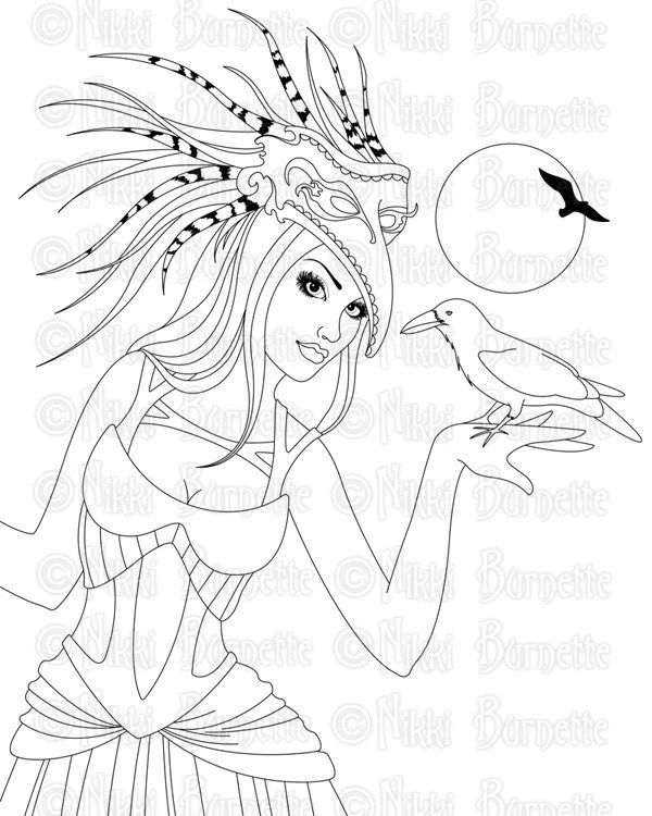 Digital Stamp Printable Coloring Page Fantasy Art Witch