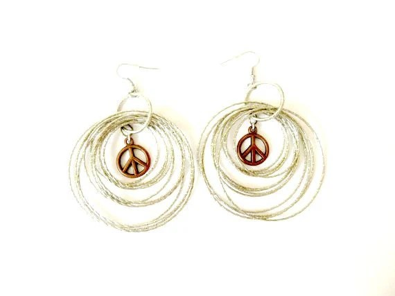 Large Statement Hoop Peace Sign Earrings festival fashion
