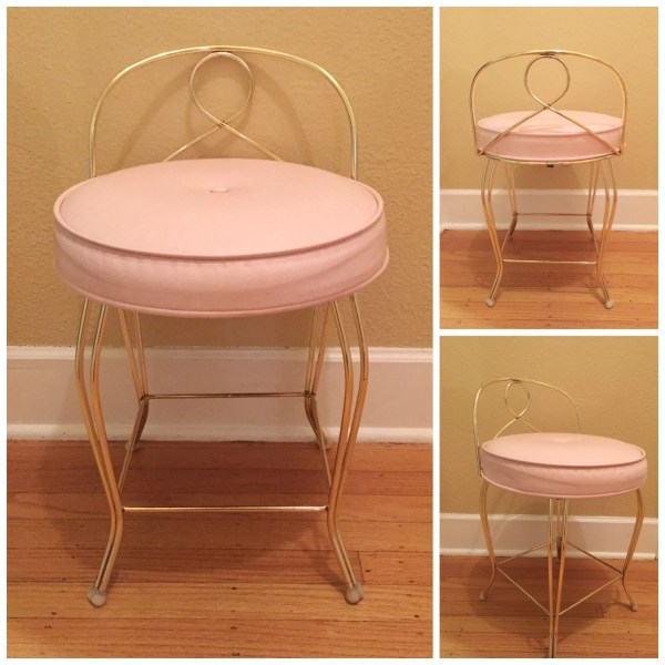 Hollywood Regency Vanity Chair Pink Vinyl Mid Century