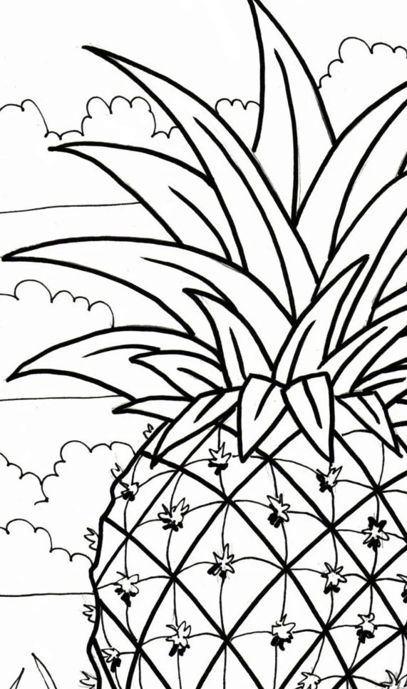 Pineapple coloring page embroidery pattern digital