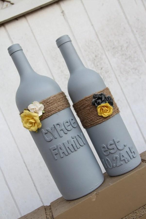 Custom Wedding Wine Bottles Yellow