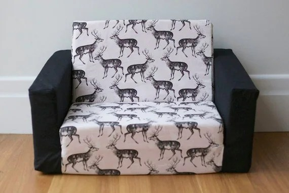 toddler flip sofa cover large round chair kids out cover: black on white deer print with