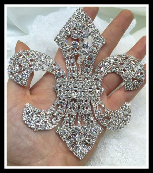 Large Fleur-de-lis Rhinestone Applique Patch Bridal