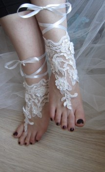 Ivory Lace Sandals Barefoot Beach