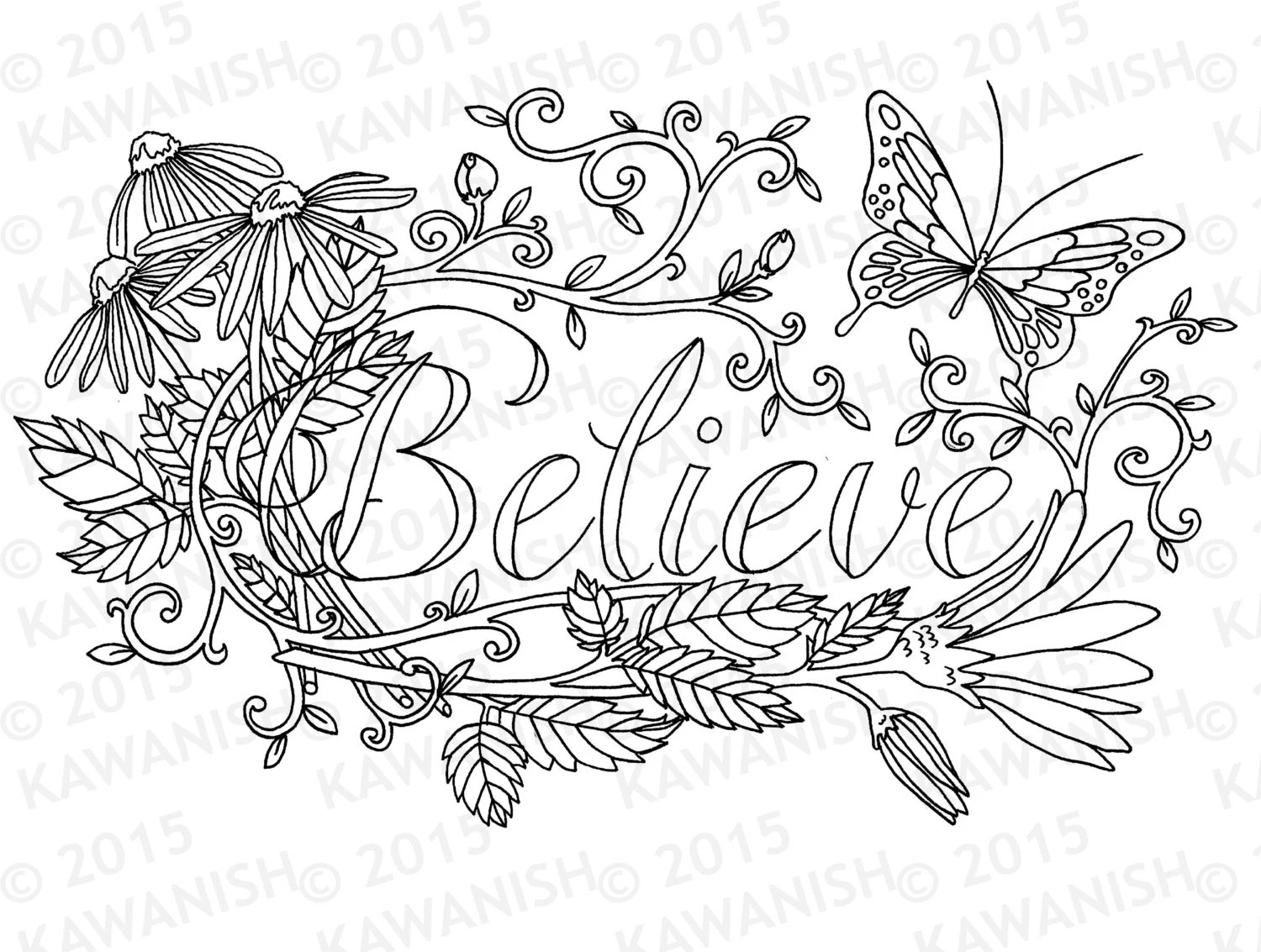 Believe flower inspirational adult coloring page gift wall art