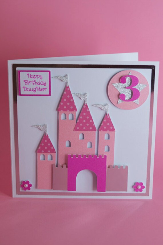 Prince Princess Castle Handmade Birthday Card 1st Birthday