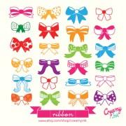 cute & colourful ribbon digital