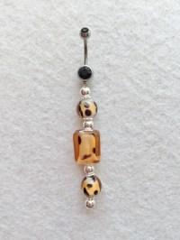 Belly Button Ring Navel Ring Animal Print Beads Cheetah