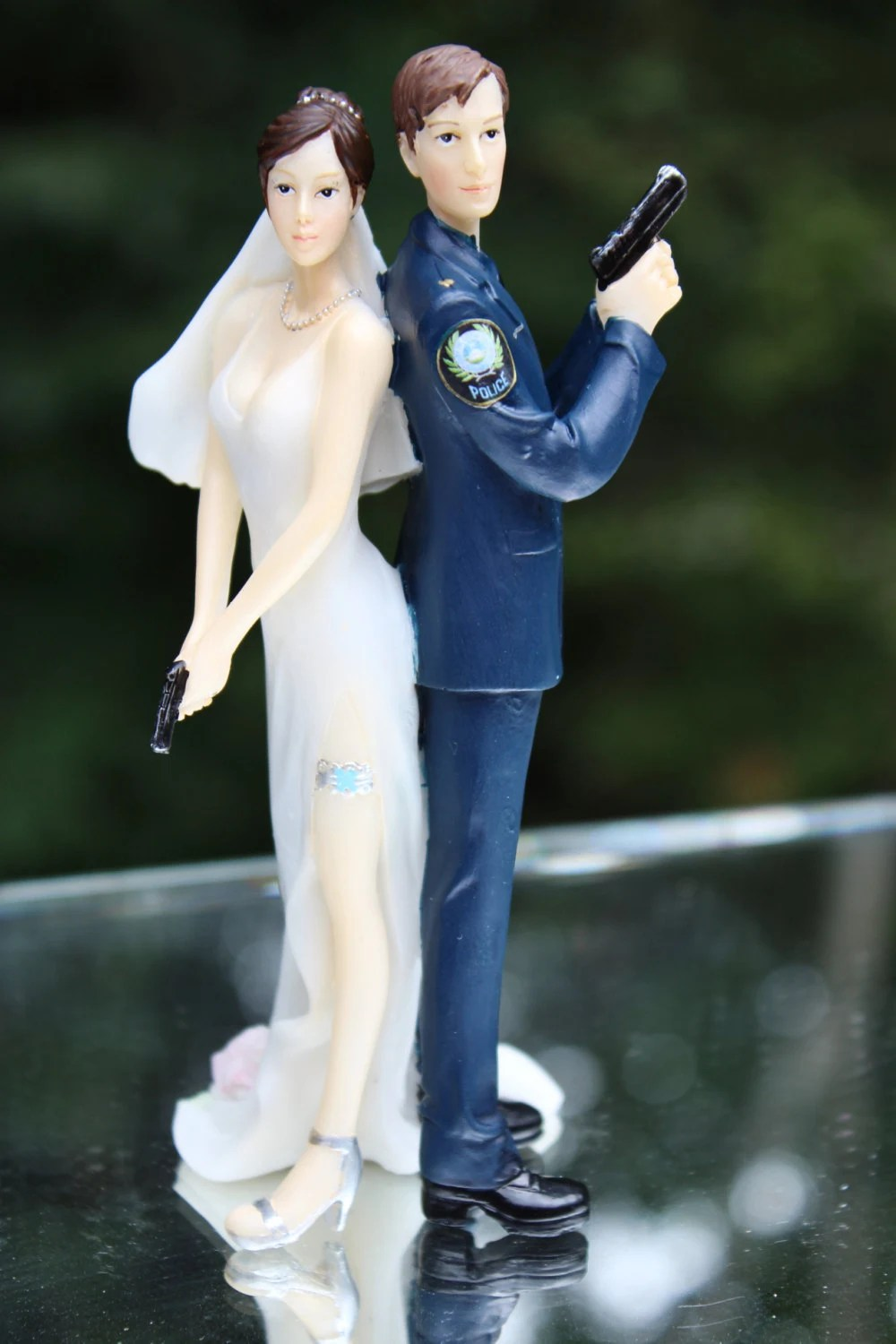 Police Officer Bride Groom Guns Wedding Cake Topper law