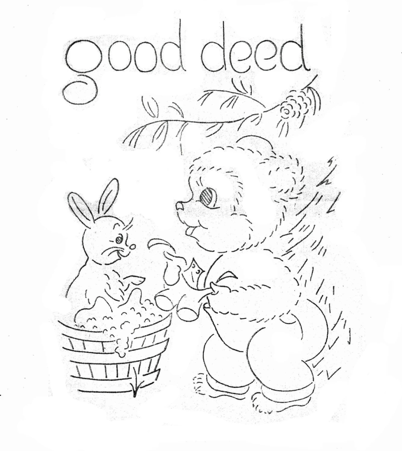 Bears Hand Embroidery pattern for Tea Towels Dish towels