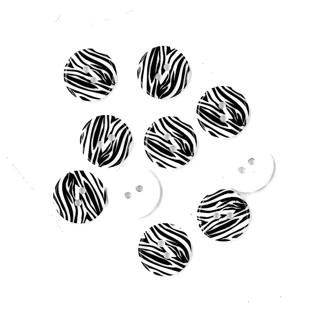 Destash 10 White Zebra Buttons plastic animal print for