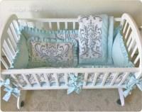 Gray Traditions Damask Baby Cradle Bedding Set / Cradle Bumper