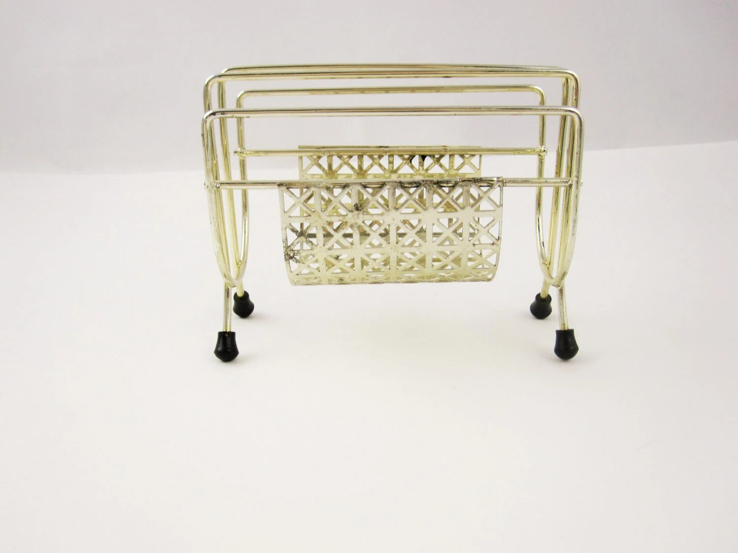 Small Goldtoned Desk Organizer For School Office or Library