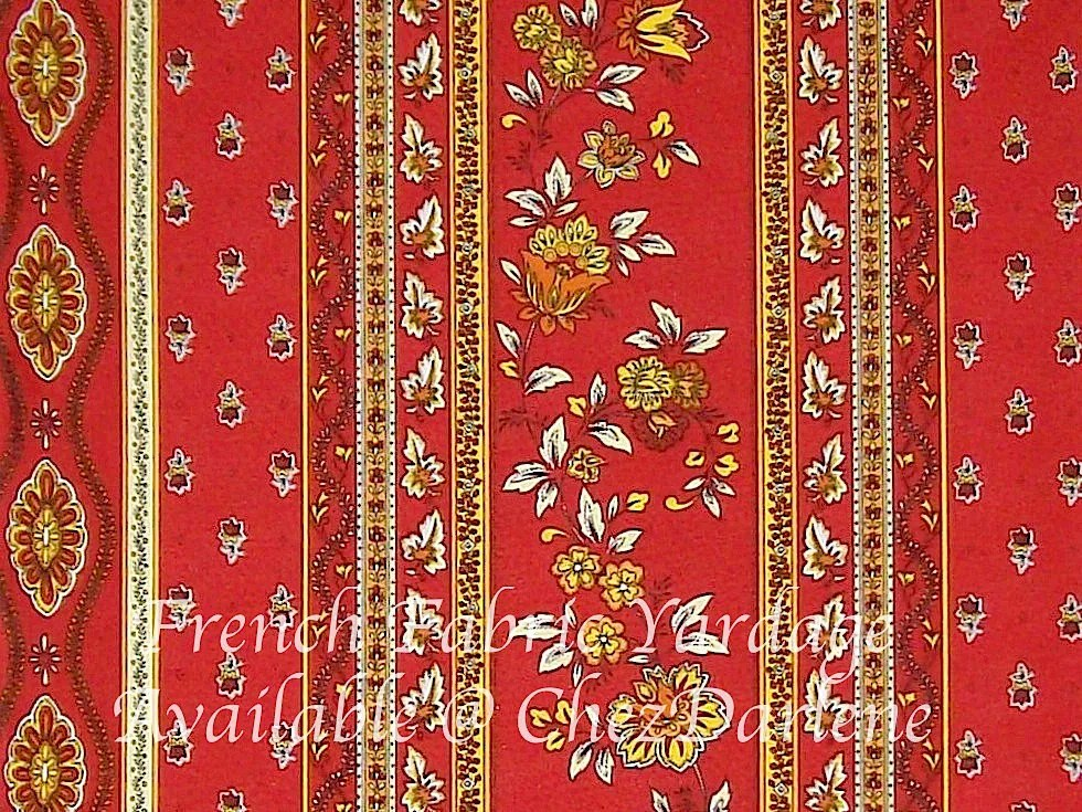 French Fabric Cotton Provence Red Striped Floral Design By