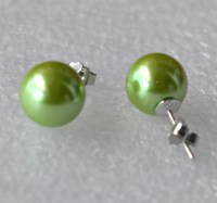 big green pearl earrings 4 10 mm grass green bead earring