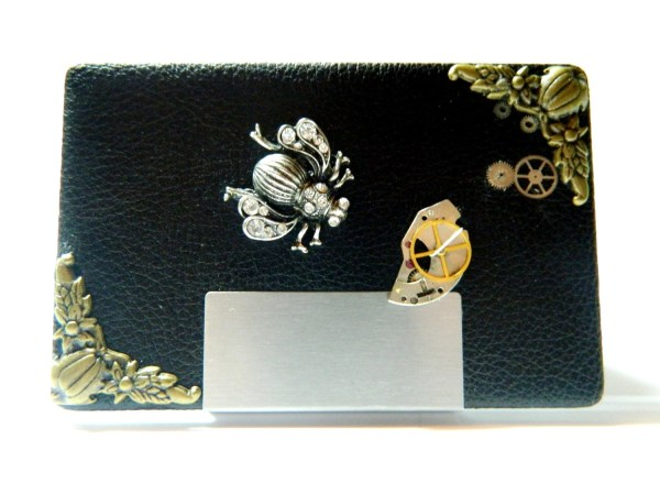 Steampunk Business Card Case Queen Bee Metal And