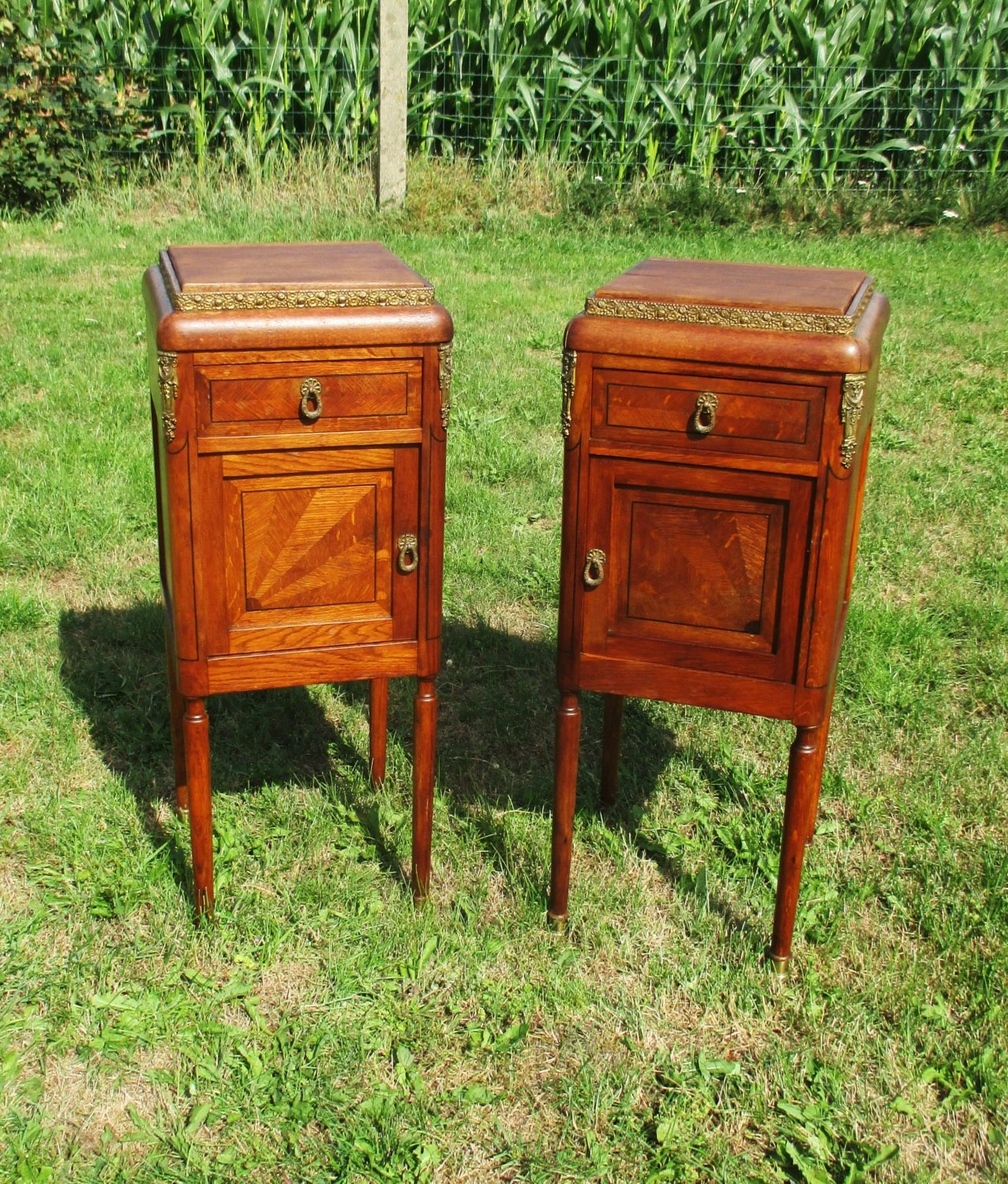 Antique Couple Massive Oak Side Cabinets End Tables Nightstands Inlay . Full resolution‎  image, nominally Width 1277 Height 1500 pixels, image with #832E0F.