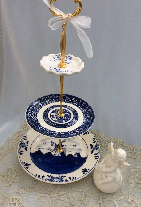 3 Tier Holland China Cake Stand Blue And White Cupcake