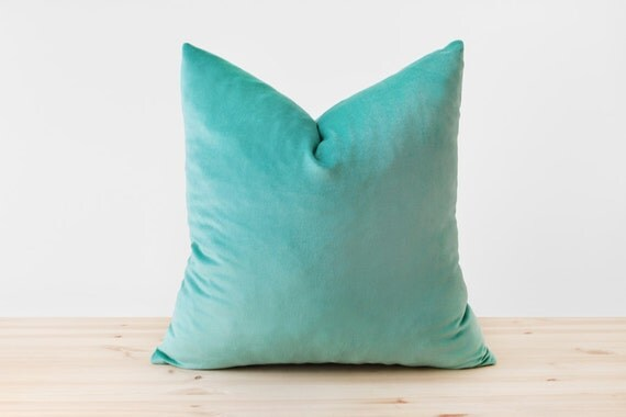 Turquoise Velvet Pillow Cover Turquoise Throw Pillow by