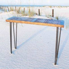 Wooden Sofa Table Legs Ashley Furniture Leather Reclining Metal Inlayed Reclaimed Wood With Hairpin