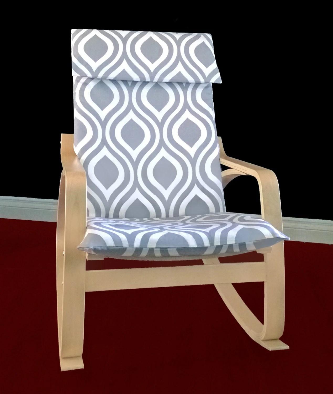 poang chair covers etsy acorn lift ikea poÄng cushion slipcover emily grey