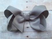 3 gray hair bow grey