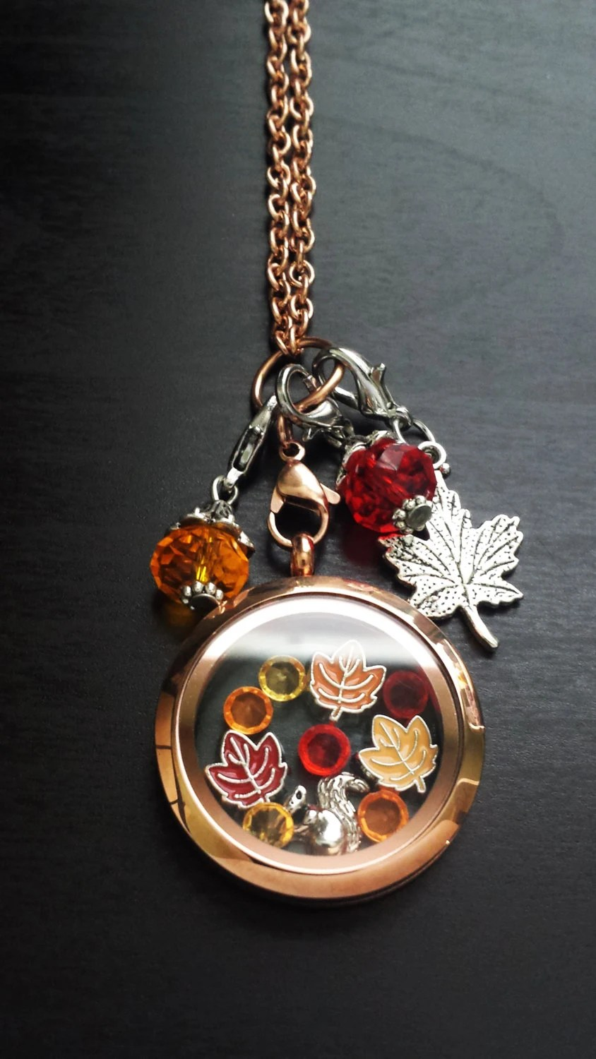 Fall Floating Charm Locket Necklaceincludes Locket Chain