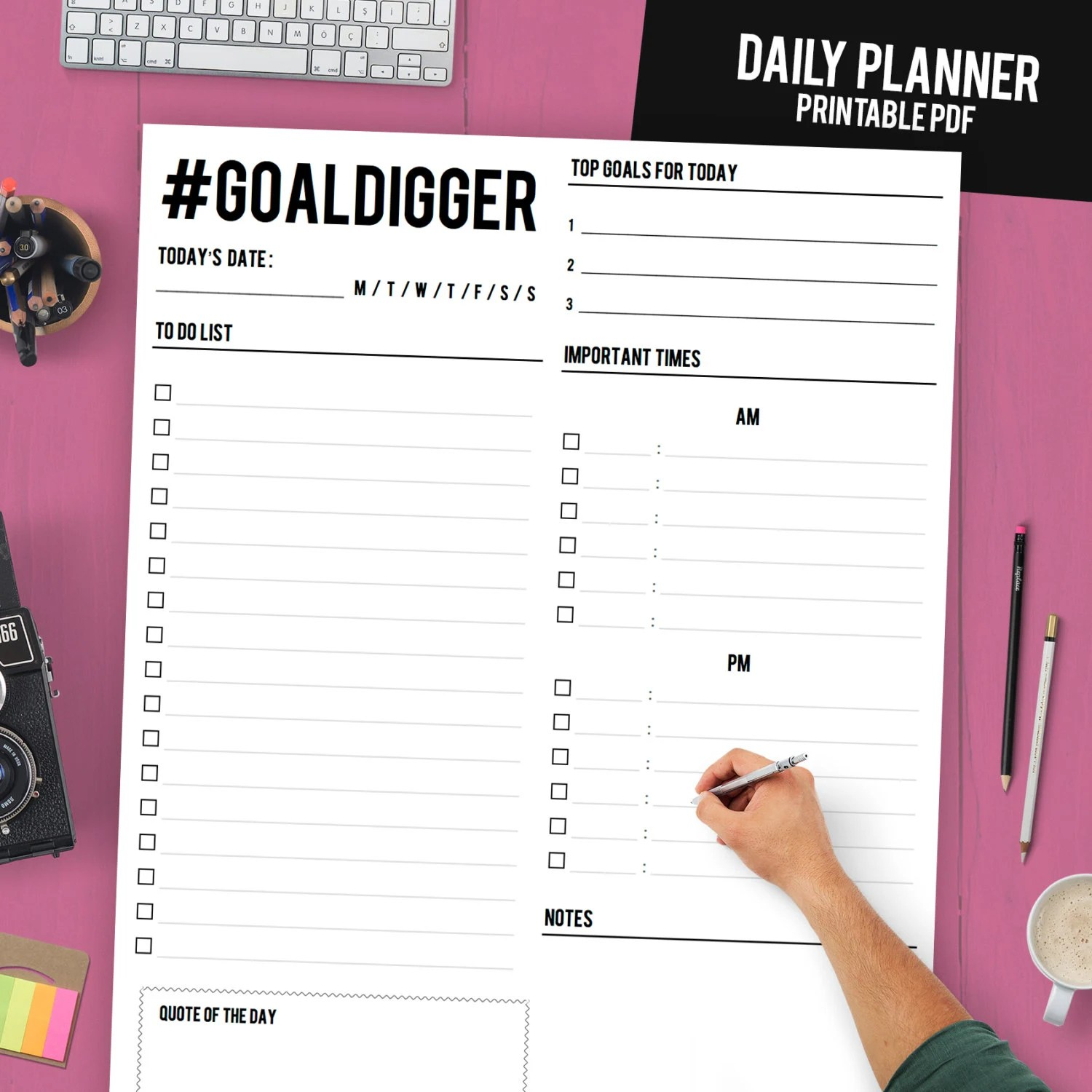 Daily Planner Printable Daily Planner Binder Daily