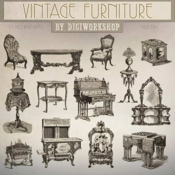 Furniture Clip Art Clipart Vintage