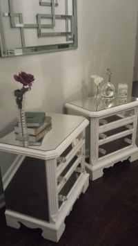 Mirrored Nightstand Set White with Trim by MirroredJewels ...