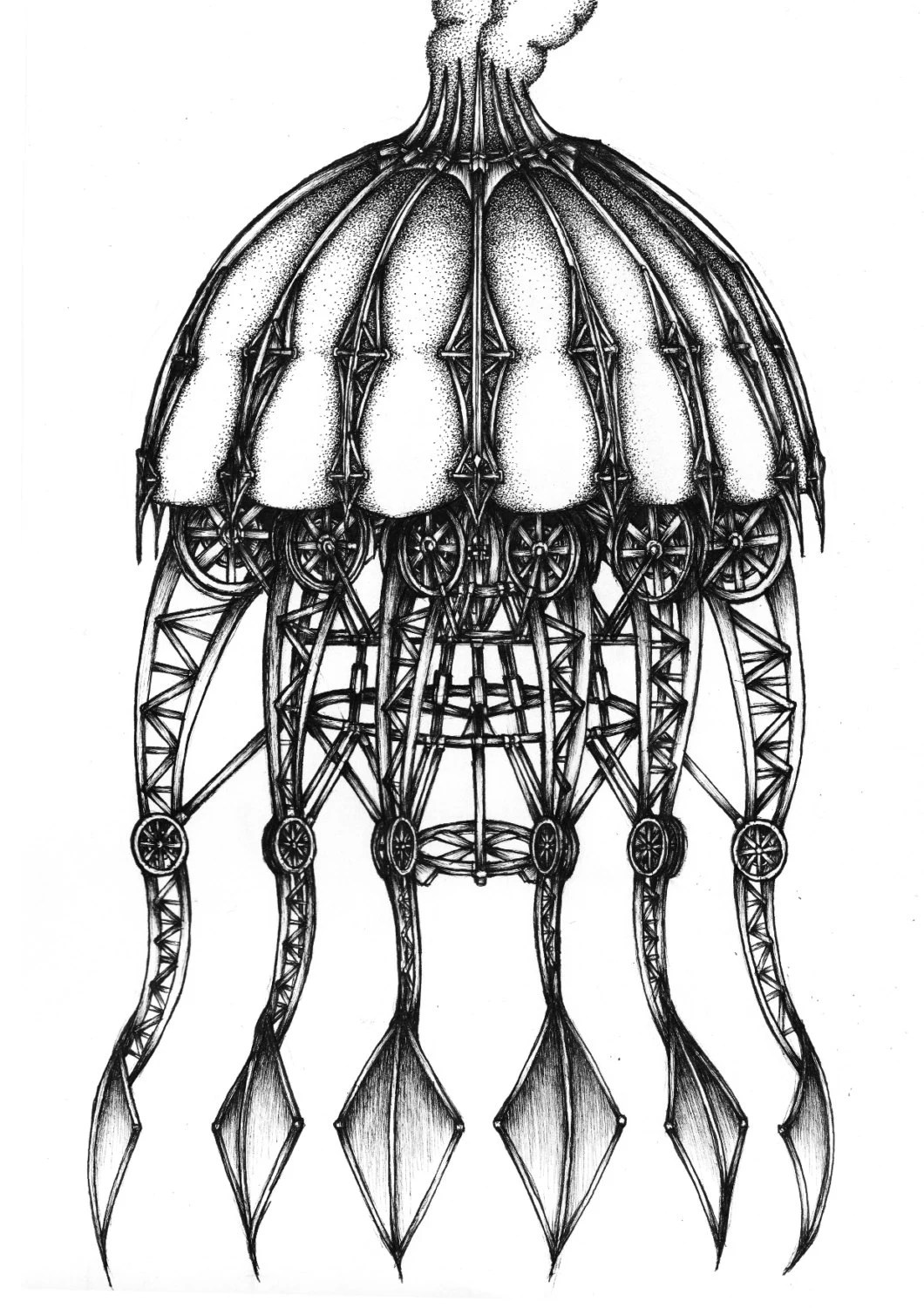 Mechanical Jellyfish Ink Drawing. Fine art print Black and