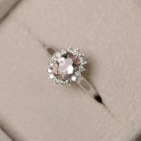 Natural morganite ring pink gemstone sterling silver