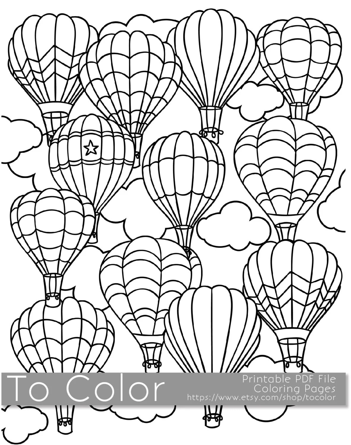 Printable Hot Air Balloon Coloring Page for Adults PDF / JPG