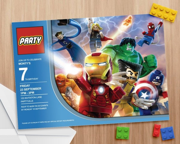 Lego Avengers Party Invite Editable and by MontyandMeShop