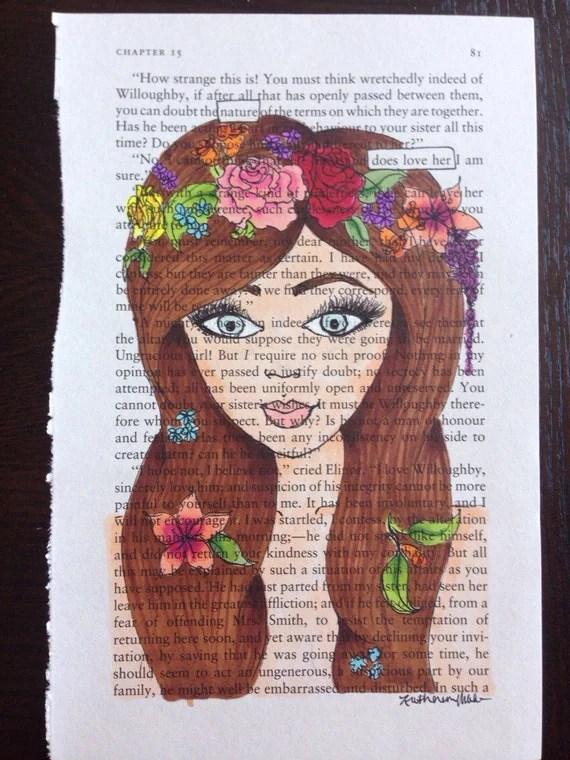 The Flower Child Blackout Poetry Art Artwork Book Art