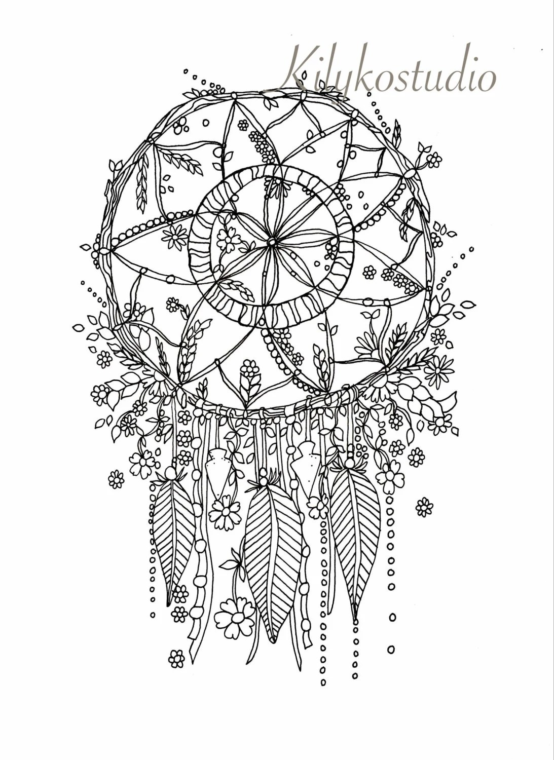 dream catcher botanical wildflower adult coloring page instant