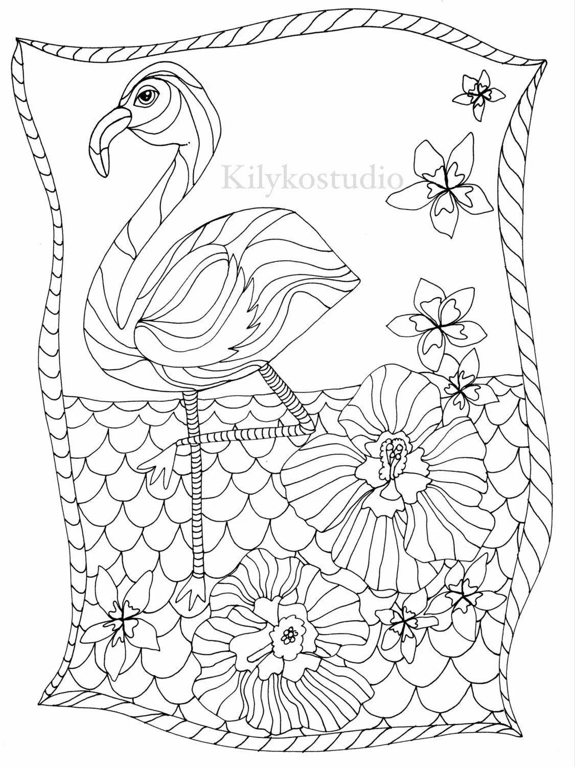 Flamingo Adult Coloring Page Instant Digital Download From