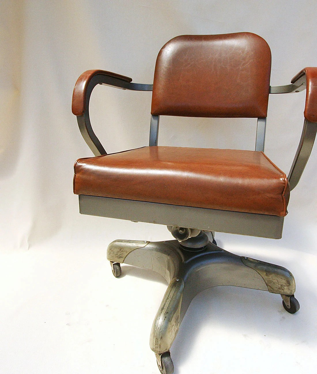 Vintage Industrial Office Chair with Arms by claudettesvintage