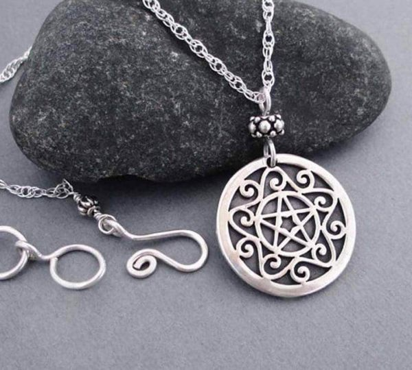Sterling Silver Pentacle Necklace Wiccan Jewelry Pentagram