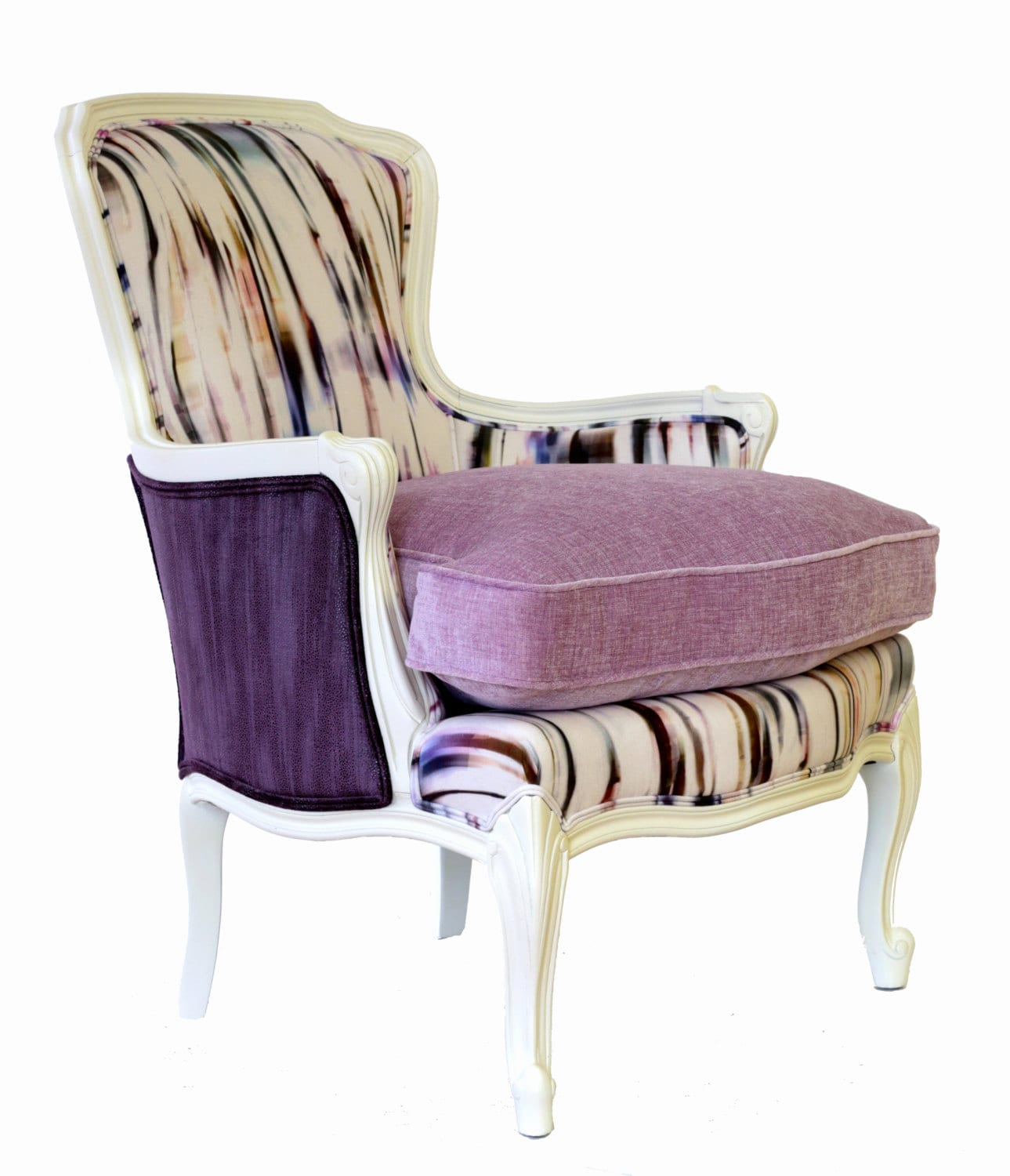 purple upholstered dining chairs kidkraft table and white rain french bergere chair