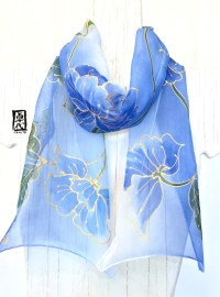 Silk Scarf Hand Painted Japanese Scarf Blue by