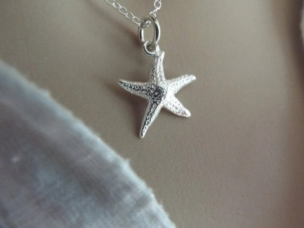 Sterling Silver Starfish Necklace 925 Beach Jewelry Bridesmaid