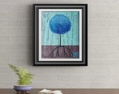 Blue Lollipop Tree Signed Art Print of Signature Original By Rafi Perez