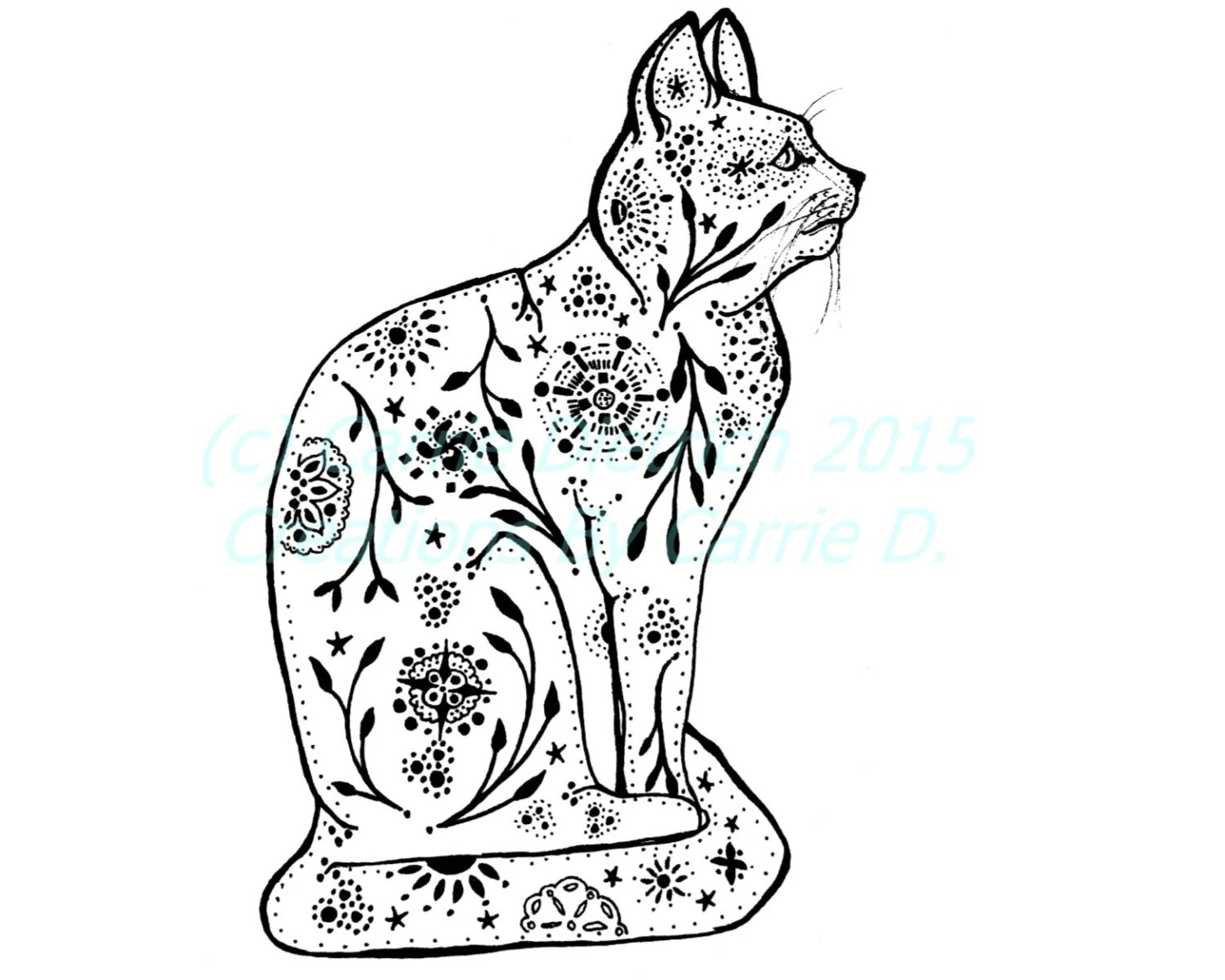 Cat Art Cat Drawing Pen And Ink Art Black And White Art