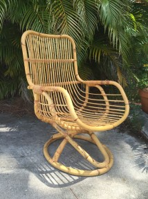 Vintage Mid Century Bentwood Rattan Lounge Chair Albini