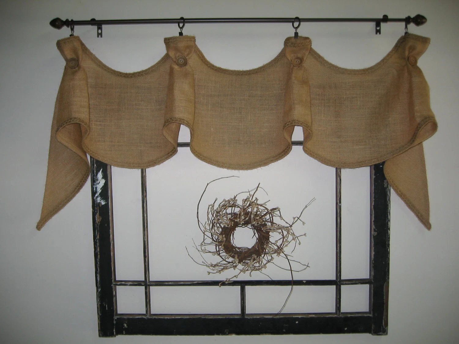 The Hayfield Primitive Burlap Window Valance