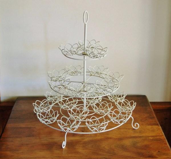 White Wire Cupcake Stand Shabby Cottage Chic 3 Tier Wedding
