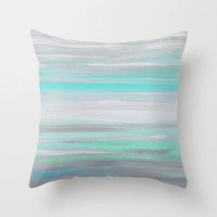 Throw Pillow Cover Grey Mint Aqua Abstract Modern Home Decor