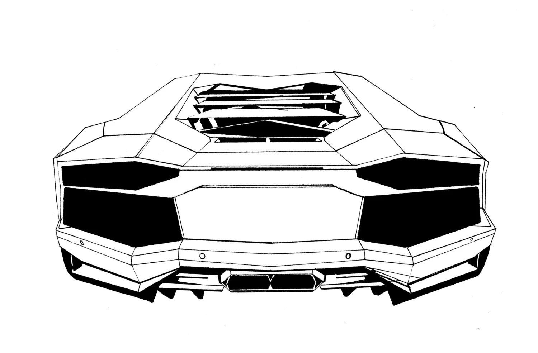 Exotic Car Drawing Lamborghini Aventador Tail Art Postcard